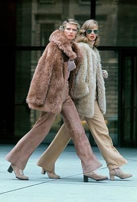 Seagram Photograph - Models Wearing Fur Coats by Kourken Pakchanian