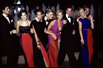 Photograph - Models Wearing Galanos Dresses by Arthur Elgort