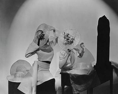 Cellophane Photograph - Models Wearing Hats by Cecil Beaton
