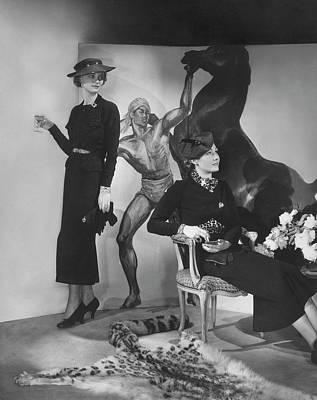 Fine Art Jewelry Photograph - Models Wearing Lily Dache Hats by George Hoyningen-Huene