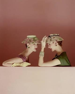 Ledge Photograph - Models Wearing Lily Dache Hats by Richard Rutledge