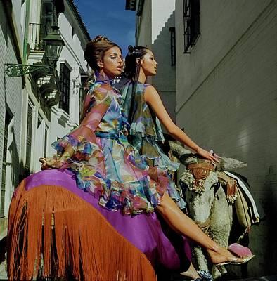 Photograph - Models Wearing Oscar De La Renta by Henry Clarke
