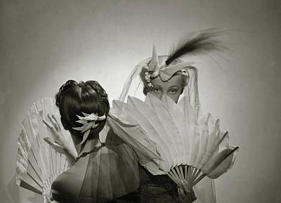 Photograph - Models Wearing Patou Headdresses by Cecil Beaton