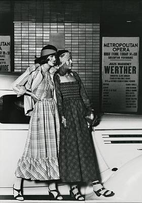 American Car Photograph - Models Wearing Patterned Clothing By A Car by Kourken Pakchanian
