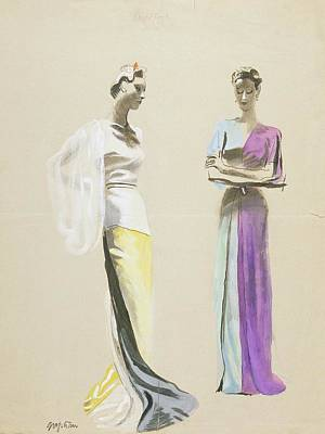 Models Wearing Satin Evening Gowns Art Print by R.S. Grafstrom