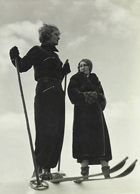 Skiing Photograph - Models Wearing Skiing Ensembles by George Hoyningen-Huene