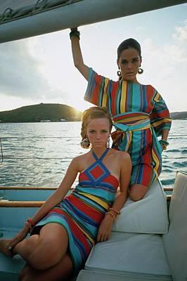 Models Wearing Striped Dresses Art Print
