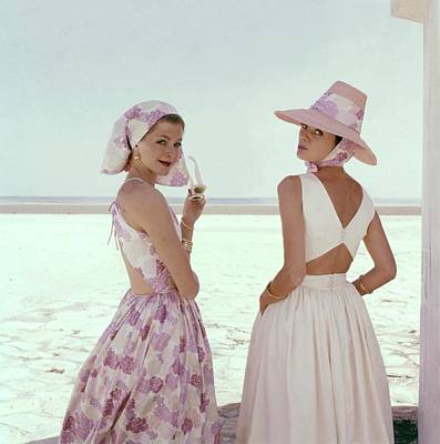 1960 Photograph - Models Wearing Summer Dresses by Sante Forlano