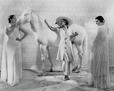 Models With A Horse Art Print by Edward Steichen