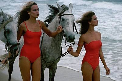 Bathing Suit Photograph - Models With Horses On A Beach by Stan Malinowski