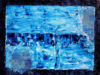 Modern Abstract Blue Water Painting Art Print