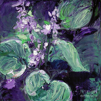 Ginette Impressionism Painting - Modern Abstract Hostas  by Ginette Callaway
