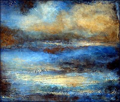 Painter Mixed Media - Modern Abstract Landscape Painting With Heavy Texture Cloud Drifter by Holly Anderson