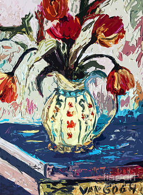 Pitcher Mixed Media - Modern Abstract Tulips Still Life by Ginette Callaway