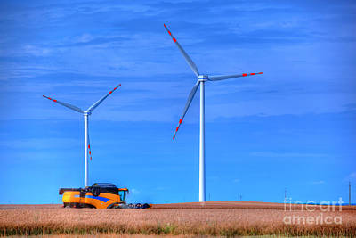 Production Photograph - Modern Agriculture And Wind Turbines by Michal Bednarek