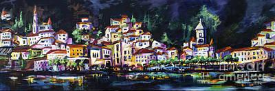 Painting - Modern Amalfi At Night Cityscape Panorama by Ginette Callaway