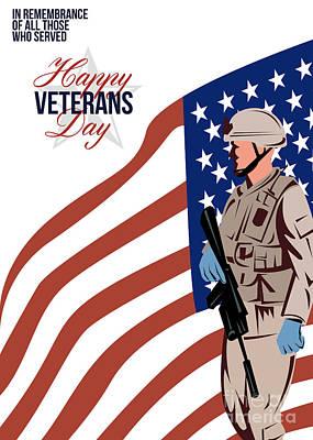 M 16 Digital Art - Modern American Veteran Soldier Greeting Card by Aloysius Patrimonio