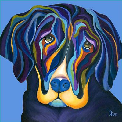 Dog Painting - Modern Art Black Lab by Debra Bucci