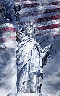 Modern Art Statue Of Liberty Blue Art Print by Melanie Viola