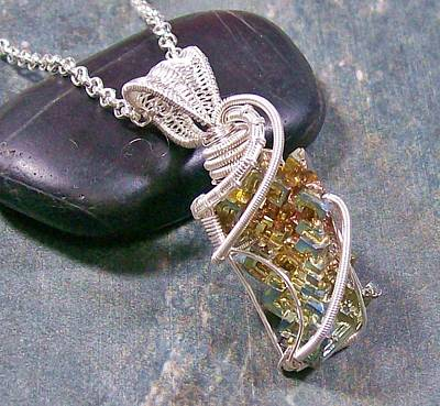 Heather Jordan Jewelry - Modern Bismuth Crystal And Silver Wire-wrapped Pendant by Heather Jordan