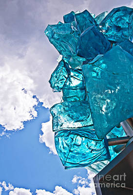 Photograph - Modern Blue Glass Statue Against Sky Art Prints by Valerie Garner