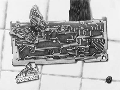 Circuit Drawing - Modern Camouflage by Vincent Jimenez