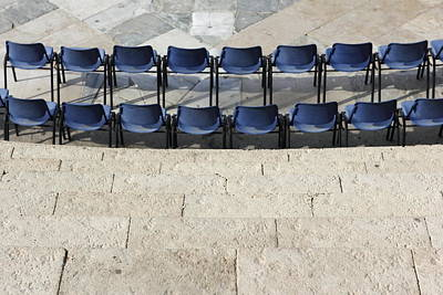 Step Stools Photograph - Modern Chairs In The Theater Megiddo Israel by Ronald Jansen