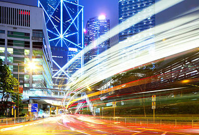 Financial District Photograph - Modern City At Nihgt by Ngkaki