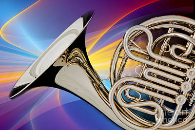 French Horn Photograph - Modern French Horn Photograph In Color 3437.02 by M K  Miller