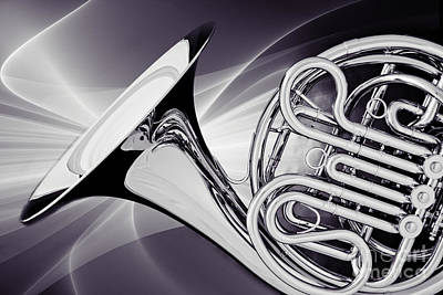 Photograph - Modern French Horn Photograph In Sepia 3437.01 by M K Miller