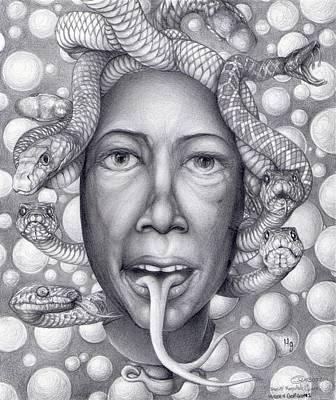 Heart Stone Drawing - Modern Gorgon 1 by Daniel Ragsdale Combs