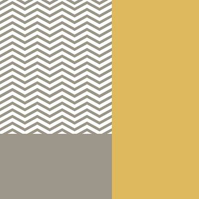 Digital Art - Modern Grey Chevrons Yellow Colorblock by Tracie Kaska