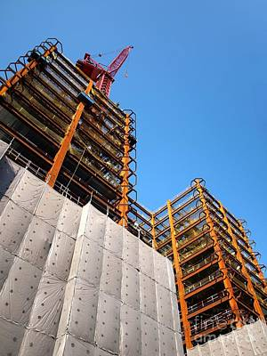 Netting Photograph - Modern Highrise Construction With Red Crane by Yali Shi