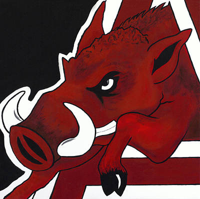 University Of Arkansas Wall Art - Painting - Modern Hog by Jon Cotroneo