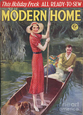 Modern Home 1930s Uk   Punting Boats Art Print by The Advertising Archives