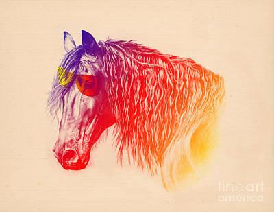 Digital Watercolor Painting - Modern Horse  by Mark Ashkenazi