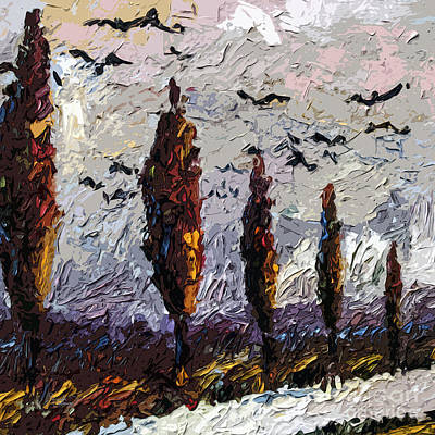 Italian Landscapes Painting - Modern Italian Landscape Trees Paintings Triptych Abstract Mixed Media Art by Ginette Callaway
