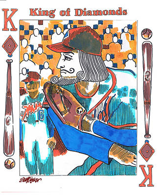 Sethweaver Drawing - Modern King O' Diamonds by Seth Weaver