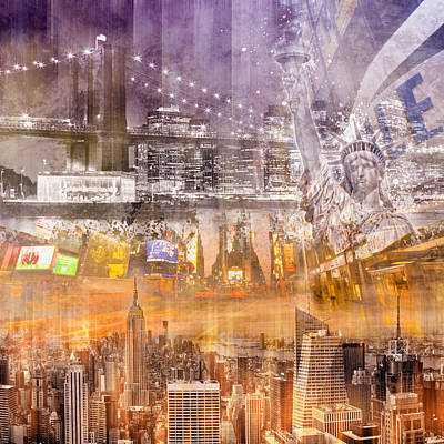 Statue Of Liberty Digital Art - Modern Nyc Composing Purple/orange by Melanie Viola