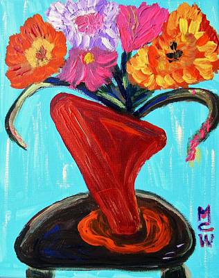 Modern Red Vase Art Print by Mary Carol Williams