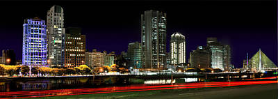 Modern Sao Paulo Skyline Near Brooklin District And Stayed Bridge Art Print