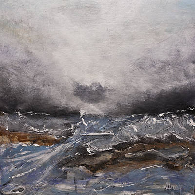 Painting - Modern Seascape Landscape Abstract Painting On Canvas by Gray  Artus