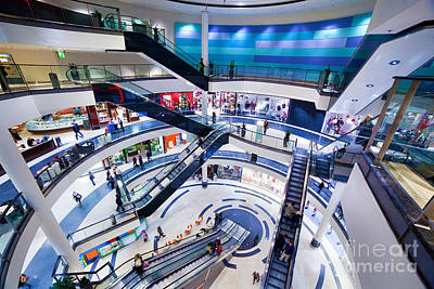 Shopper Photograph - Modern Shopping Mall Interior by Michal Bednarek