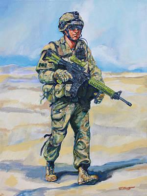 Patrol Painting - Modern Soldier by Derrick Higgins