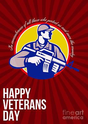 Modern Soldier Veterans Day Greeting Card Side Art Print by Aloysius Patrimonio