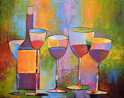 Wine Bottle Painting - Modern Wine Art ... Wine Party by Amy Giacomelli