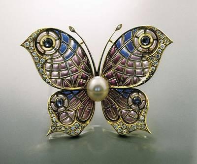 Modernist Pin, Butterfly-shaped. Enamel Art Print