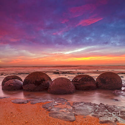 Sunrise Photograph - Moeraki Boulders Otago New Zealand by Colin and Linda McKie