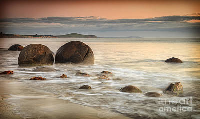 Photograph - Moeraki Sunrise by Colin and Linda McKie