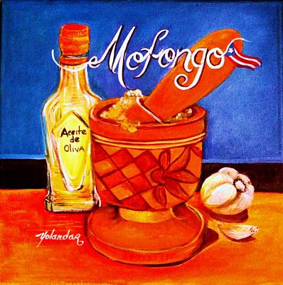 Art Print featuring the painting Mofongo En El Pilon  by Yolanda Rodriguez